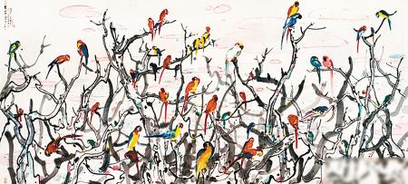 吴冠中1988年作《鹦鹉天堂》