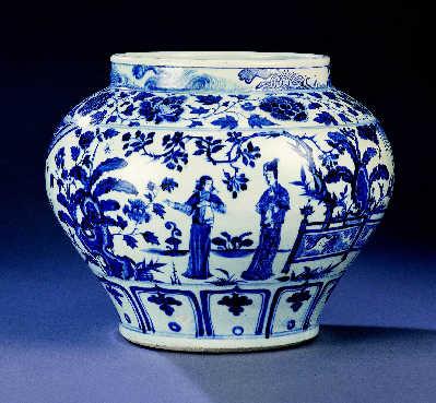 元十四世纪中期青花锦香亭图罐