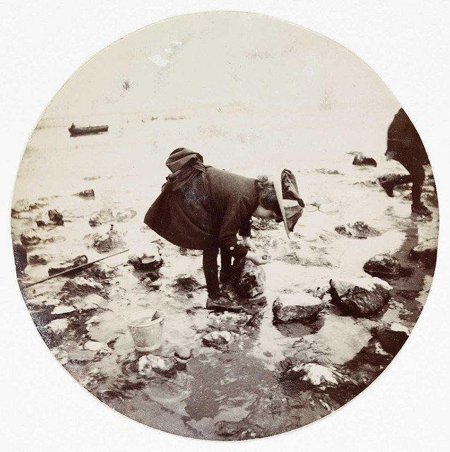 在一个岩石池里看的女孩,大约1890年