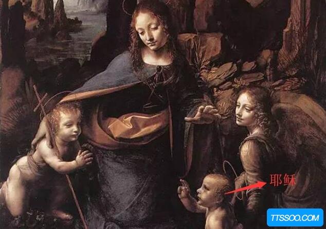 岩间圣母恐怖画面割头,圣母左手抓头/耶稣手指砍头